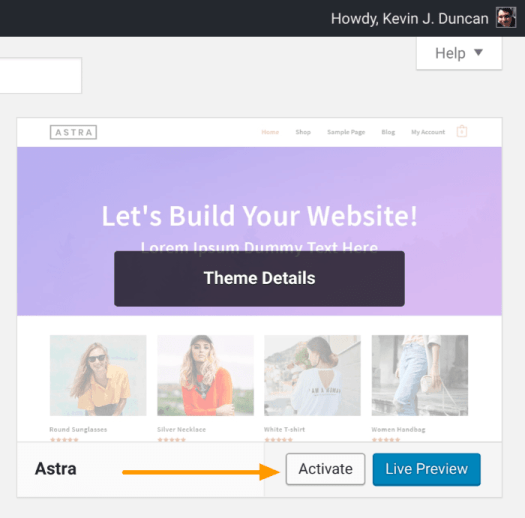 Start a blog - Activate a WordPress theme