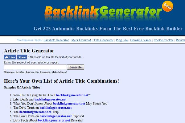 Backlinkgenerator Blog Title Generator