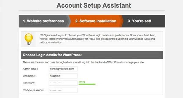 SiteGround WordPress Installation Account Setup