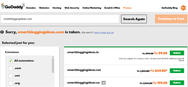 Search Your GoDaddy Domain Name