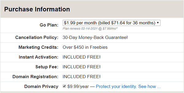 iPage Hosting Plan Information