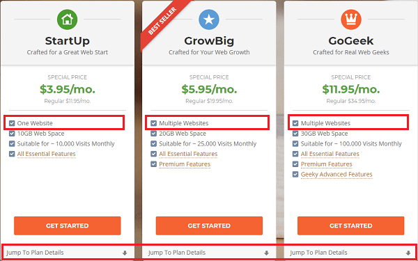 SiteGround Hosting Plans - Startup, GrowBig, GoGeek