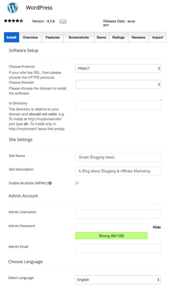 SiteGround WordPress Installation Details