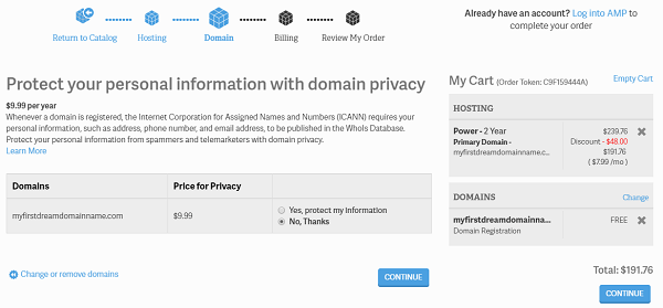 InMotion Shared Hosting - Domain Privacy