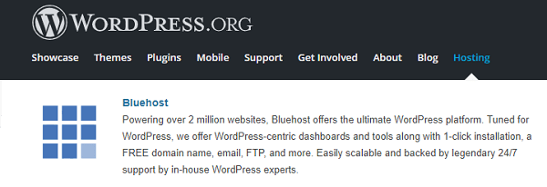 BlueHost WordPress Hosting Recommended by WordPress