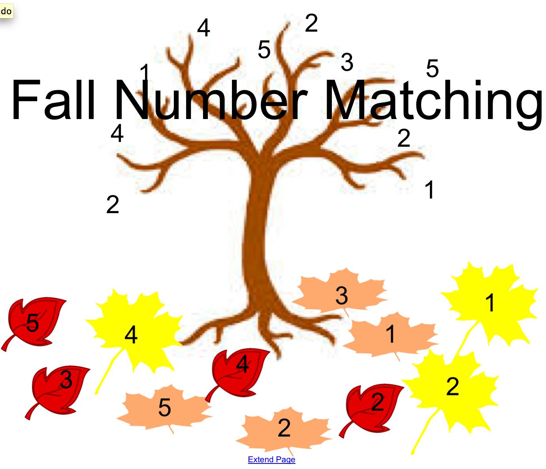 Fall Number Matching Smart Notebook Smart Board Ideas