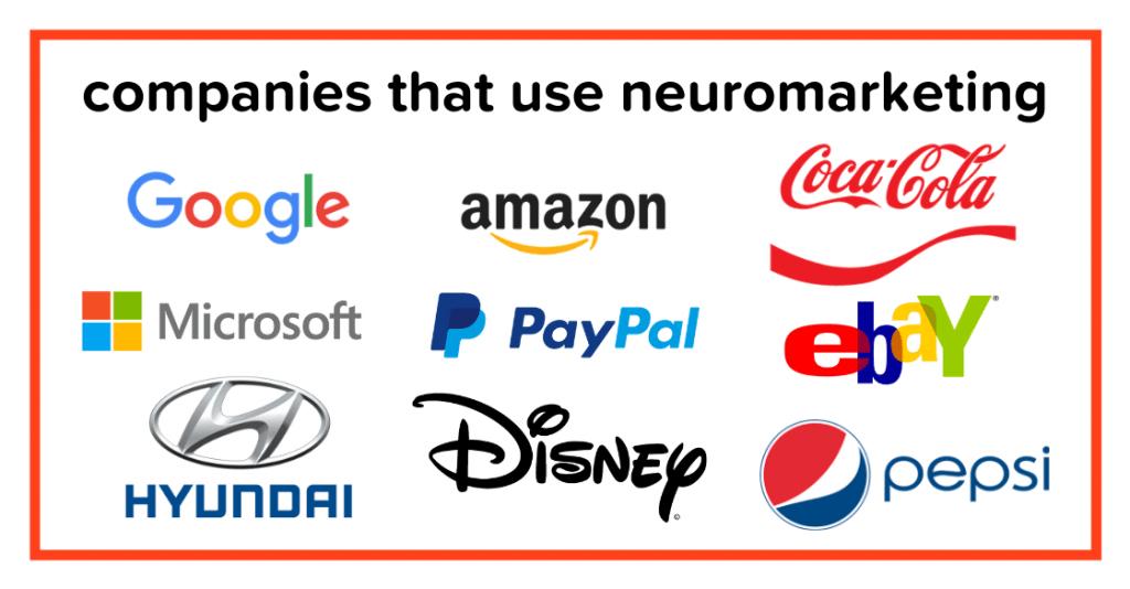 Logos of companies that use neuromarketing
