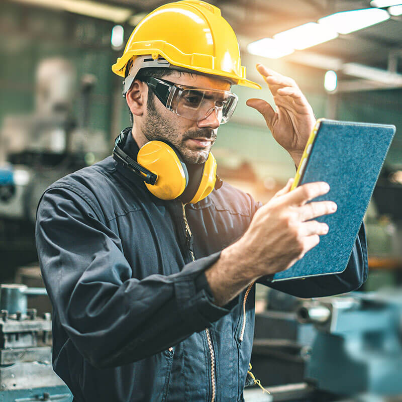 Employee working from manufacturing company