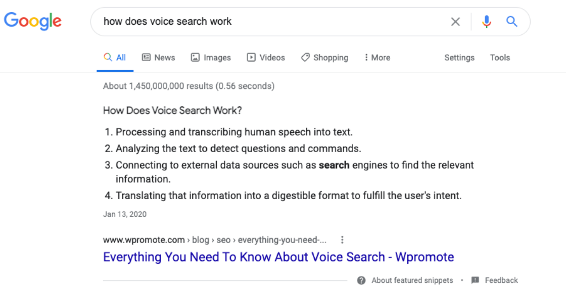 Example of a featured snippet on Google Search