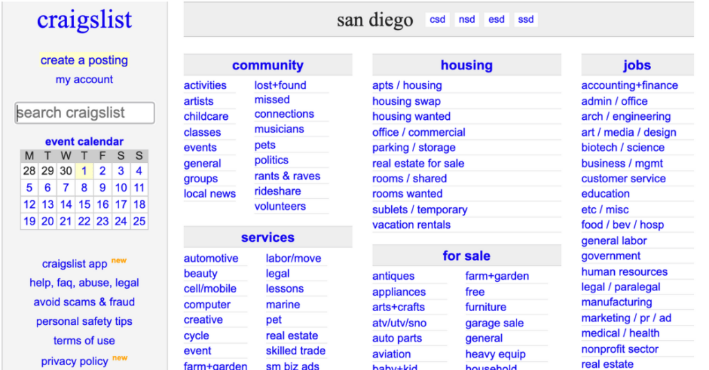 Craigslist is a website designed to inform users with one way engagement.