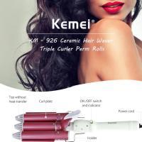 Κεραμικό Ηλεκτρικό Τριπλό Ψαλίδι για Mπούκλες 25mm Ceramic Hair Waver Triple Curler Perm Rolls Kemei