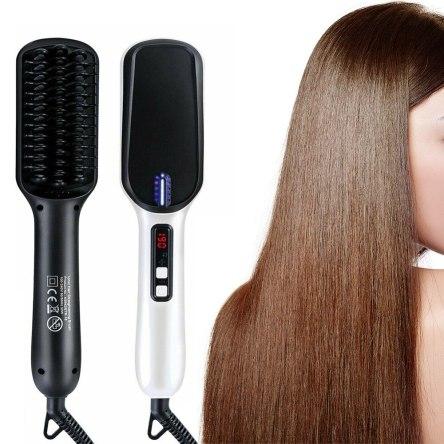 Κεραμική Ισιωτική Βούρτσα Μαλλιών με Τεχνολογία Διπλών Ιόντων 2 σε 1 Ionic Hair Straightening Brush