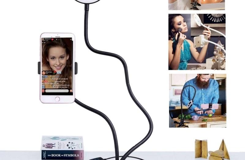 Επαγγελματικό LED Φωτιστικό Δαχτυλίδι με Βάση Κινητού & Εύκαμπτο Βραχίονα Κλιπ 2 σε 1 – Professional Live Stream