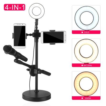 Επαγγελματικό LED Φωτιστικό Δαχτυλίδι 16cm με Βάση Τηλεφώνου και Μικροφώνου 4 σε 1 Professional Live Voice Stream
