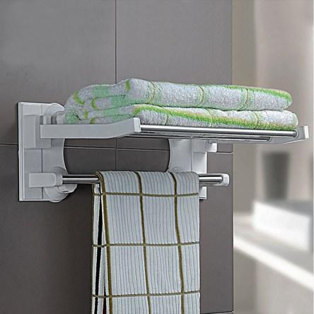 Αναδιπλούμενη Κρεμάστρα Τοίχου για Πετσέτες με Μηχανισμό Βεντούζας