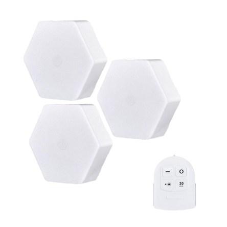 Ασύρματα Σποτάκια LED Εξάγωνα 3 Τεμαχίων Με Τηλεχειριστήριο Για Εσωτερικούς Χώρους