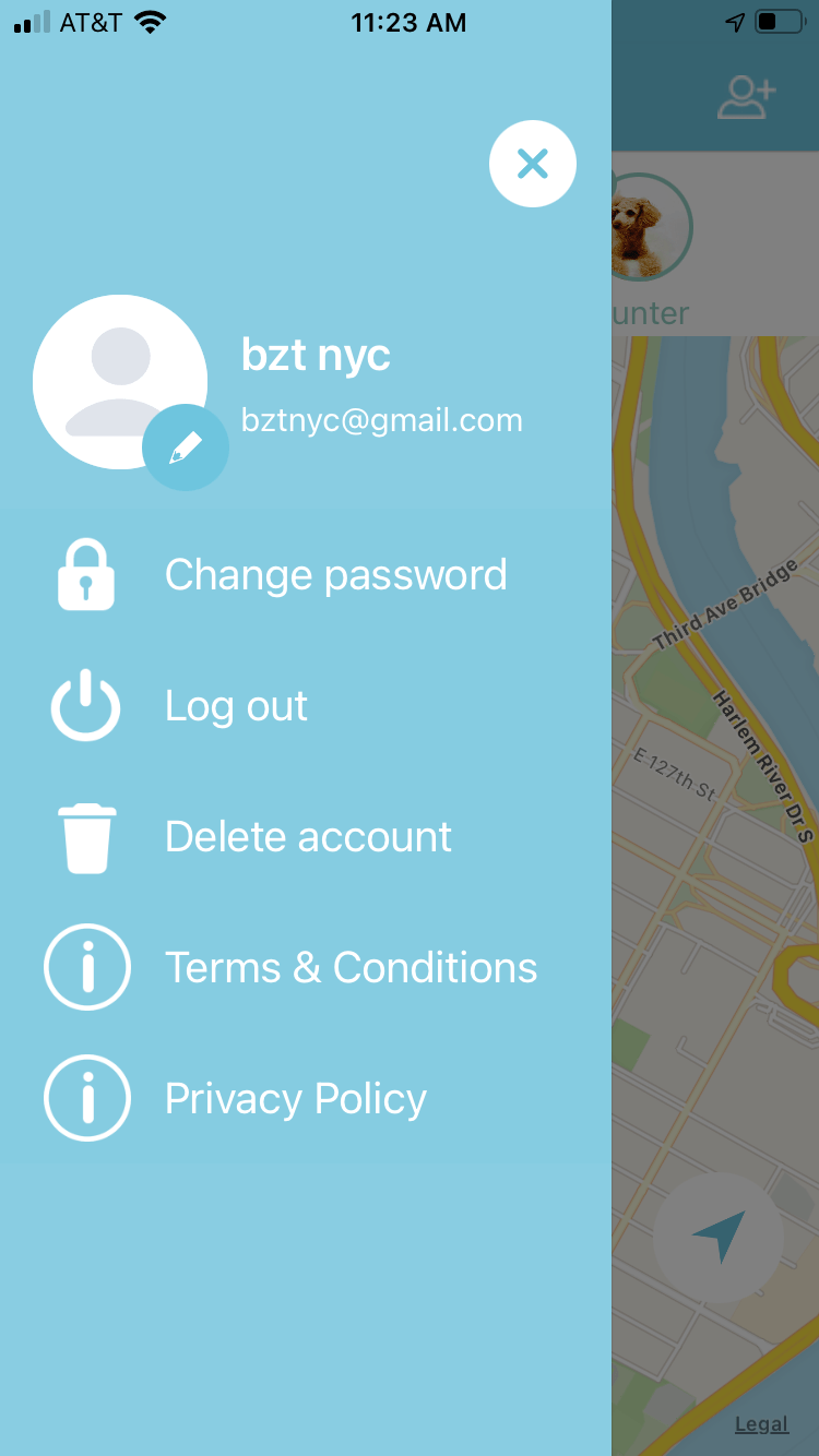 B'ZT UNDRCOVR tracking app setting page