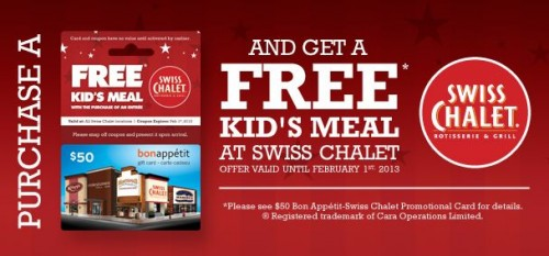 Canadian Deals Free Kids Meal WUB 50 Swiss Chalet Gift