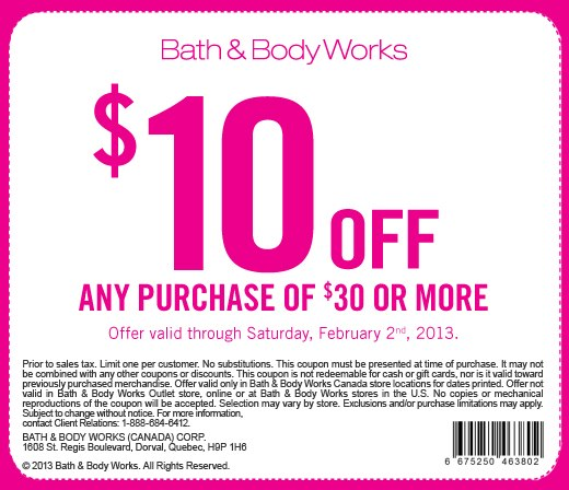 Canadian Coupons Bath  Body Works Canada 10 off 30