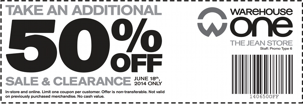 Warehouse One The Jean Store Canada Printable Coupon: Save