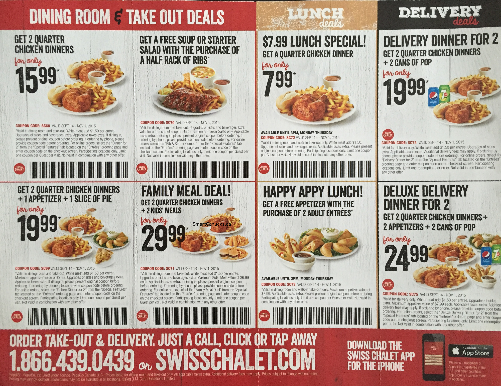 swiss chalet promo code offers get free soup or salad with purchase of 1 2 rack ribs get 2 quarter chicken dinners 1 appitizer 1 slice of pie for 19 99