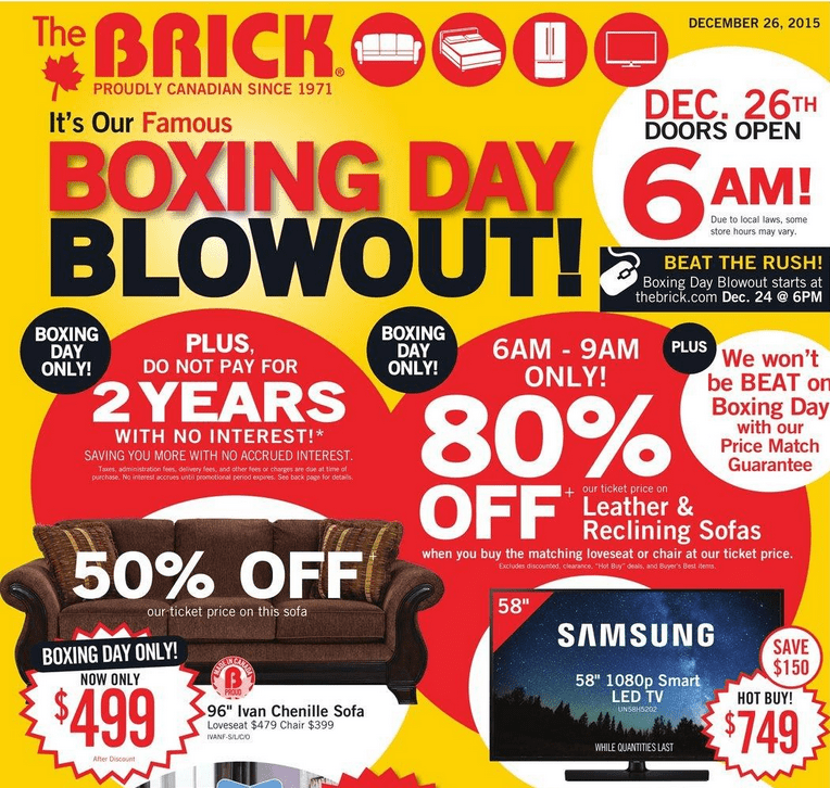 leather and chenille sofa classic chesterfield the brick canada boxing day 2015 deals & flyer sneak peek ...