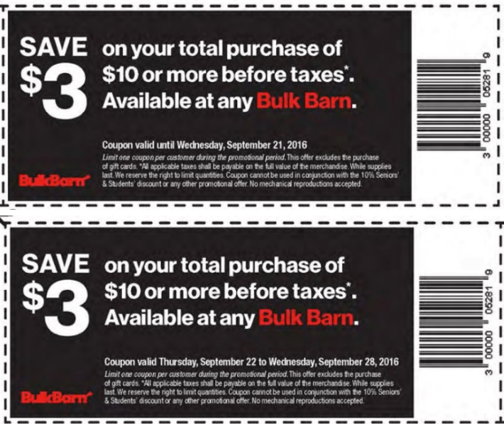 Bulk Barn Canada Coupons Save 3 On Your Total Purchase