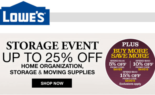 Lowe S Canada Storage Event Sale Save 10 25 Off Home