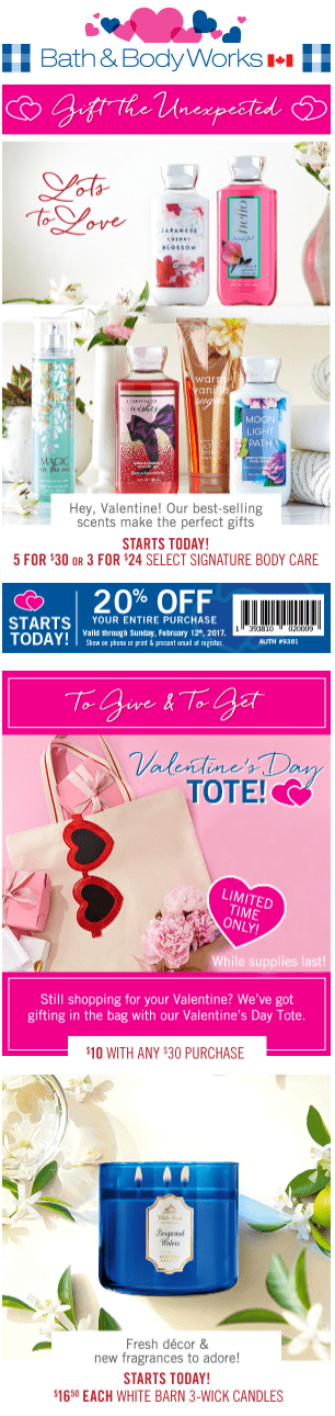 Bath Amp Body Works Canada Valentines Day Offers Coupon