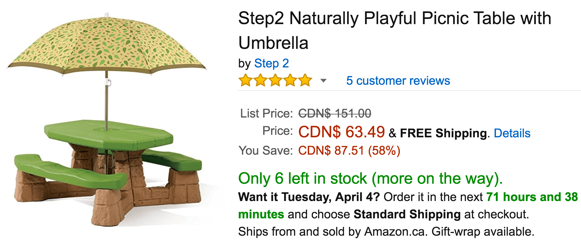 step2 table and chairs with umbrella best high chair for baby amazon canada deals save 58 on naturally playful