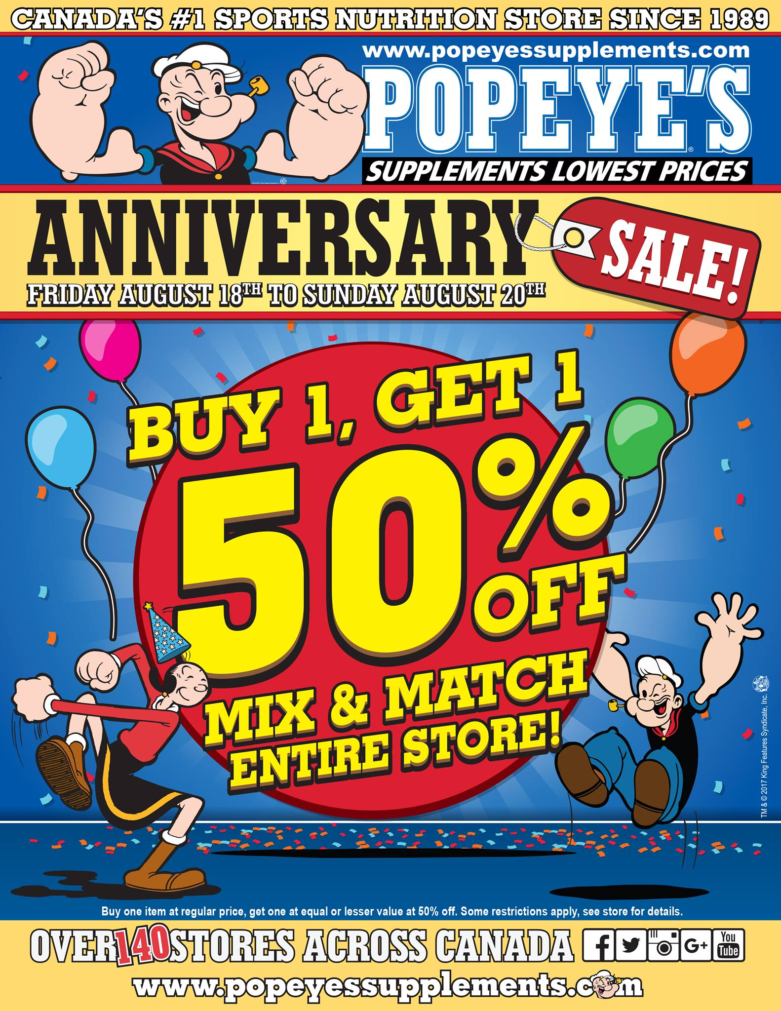 Popeyes Supplements Canada Anniversary Sale Buy 1 Get 1 50 off Entire Store  Canadian