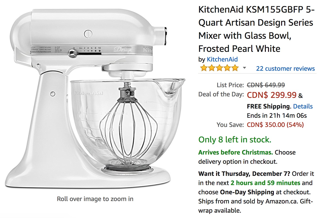 kitchen aid coupons free makeover amazon canada holiday deals save 54 off kitchenaid 5