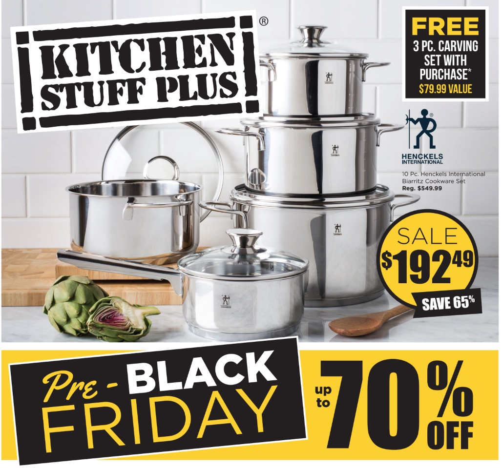 kitchen stuff on sale and mixer plus canada pre black friday save 65 10 pc henckels international biarritz cookware set free pro v carving knife
