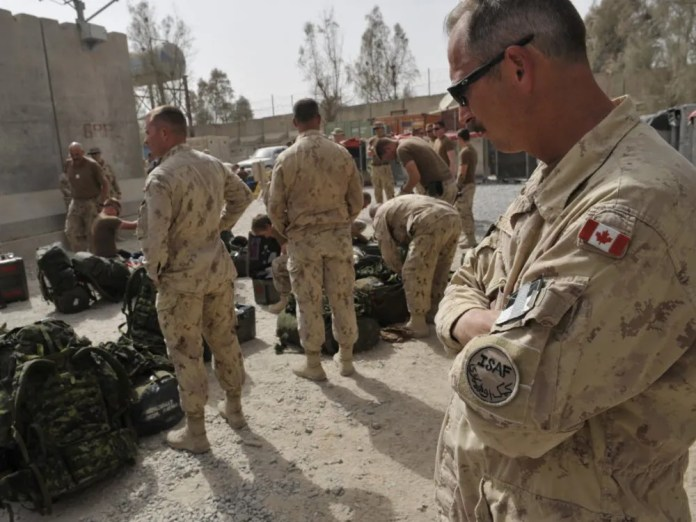 Canadian soldiers prepare to leave Kandahar military base in southern Afghanistan in 2011 as Canada ends its combat mission there.
