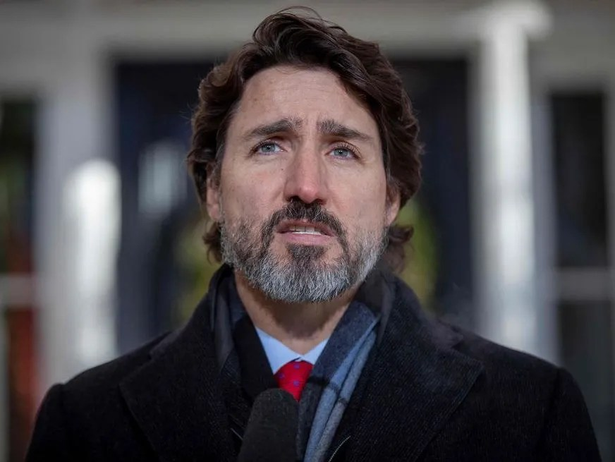 In this file photo taken on December 18, 2020 Canadian Prime Minister Justin Trudeau speaks during a Covid-19 briefing at the Rideau Cottage in Ottawa, Ontario.
