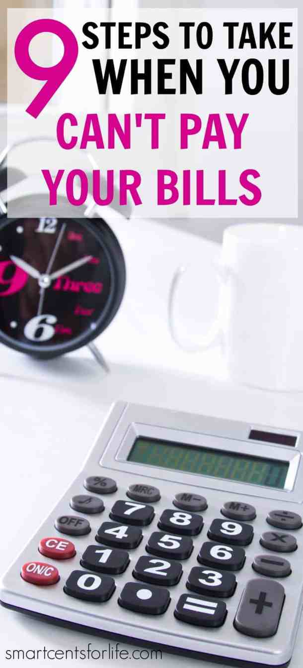 What to do when you can't pay your bills? Getting behind on bills is not a place anyone wants to be. Set an actionable plan to tackle this situation and get things under control again. Here are 9 actionable steps to take when you can't afford to pay your bills.