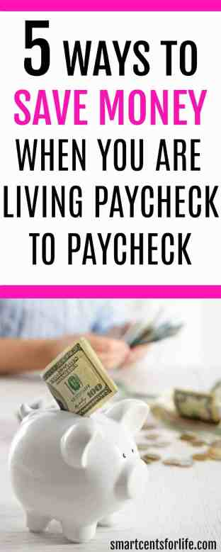 Saving money when you are living paycheck to paycheck can be difficult. Check out these 5 easy ways to save money and stop living paycheck to paycheck! How to pay off debt, saving money tips, budgeting, budget #moneysavingtips #money #finance #personalfinance #savingmoney