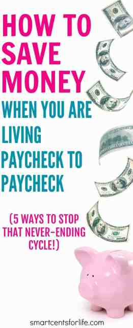 Saving money when you are living paycheck to paycheck can be difficult but not impossible. Here are 5 ways to save money and stop that never-ending cycle.