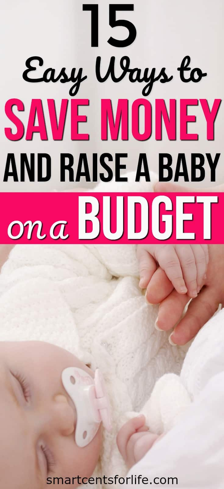 Whether you are expecting your first baby or not, Check out these tips on how to save money and raise a baby on a budget! Yes, having a baby on a small budget it's possible! This list will show you how you can prepare for a new baby on a tight budget. How to save money on a baby, budget, frugal living tips, money saving tips, frugal living #frugalliving #budget #moneysavingtips