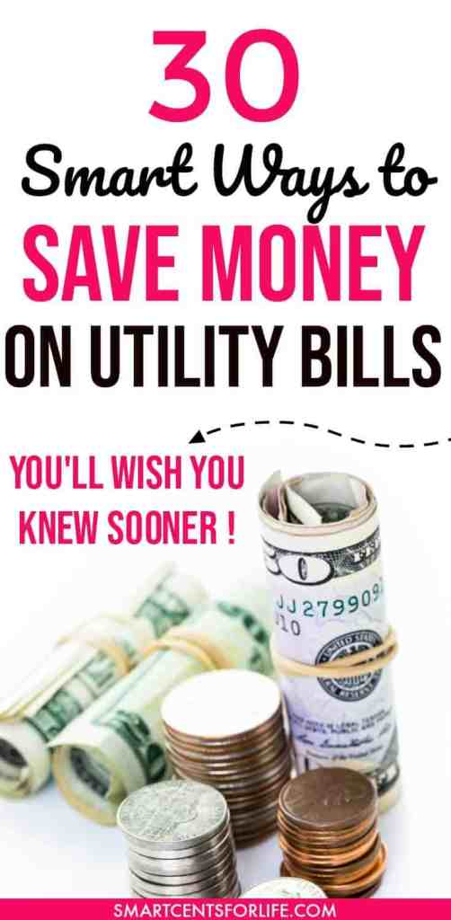 Are you looking for ways to save money on your utility bills? Here are 30 smart ways to lower your utility bills at home! By implementing these simple tips around your house, you will be able to lower the costs of your utility bills at home and save hundreds of dollars per month! money saving ideas, ways to save money, tips to save money on utility bills, frugal living tips, how to save money on utilities, save money on bills, budgeting