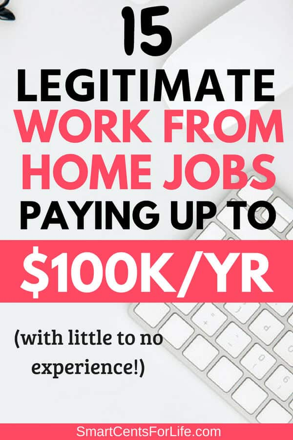 Check out this list of legitimate work at home jobs you can start today! With little to no experience and no college degree needed. These highest paying work at home jobs are perfect for anyone looking to change careers, stay at home moms, college students, etc. Real jobs to earn money working full time or part time from home! #money #personalfinance #frugalliving #moneytips #moneymanagement