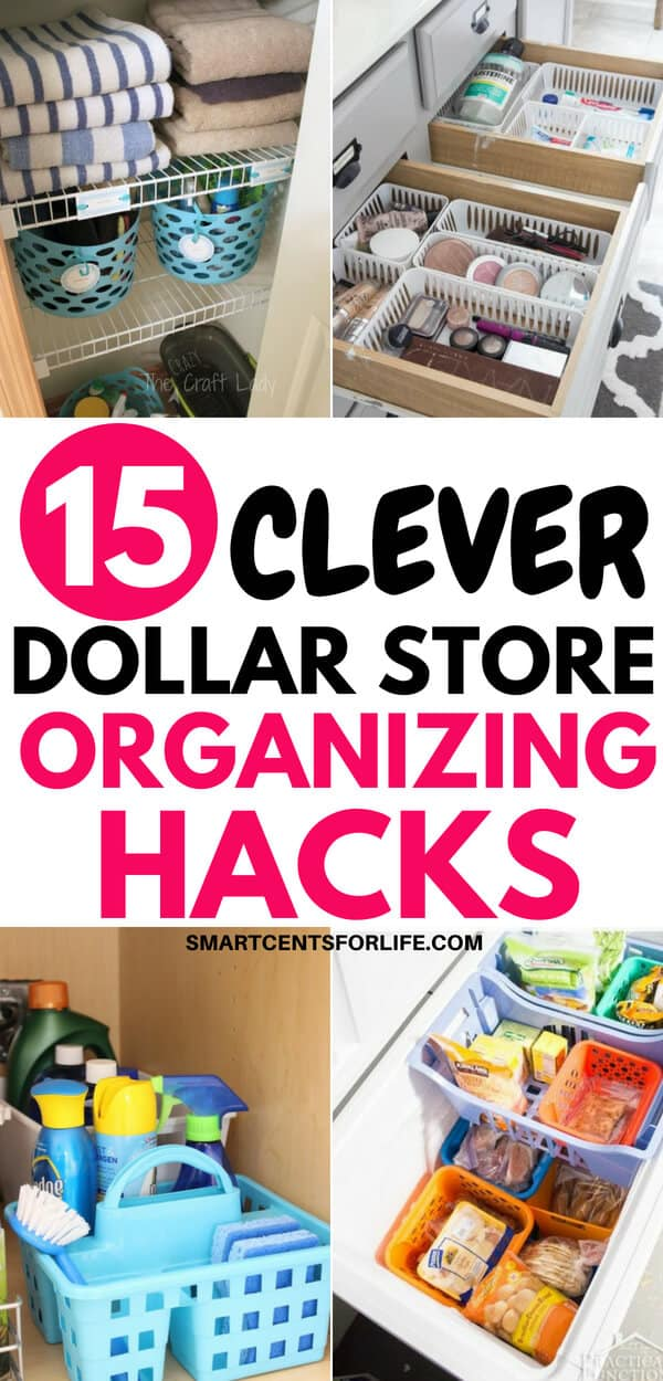 These 15 clever dollar store organizing hacks will help you organize your whole home on a budget! Inexpensive ideas to declutter and organize your house for cheap! Organize your kitchen, bathroom, bedroom, laundry, and more with these simple DIY organization ideas and hacks! #organizingtips #diyorganizing #diy