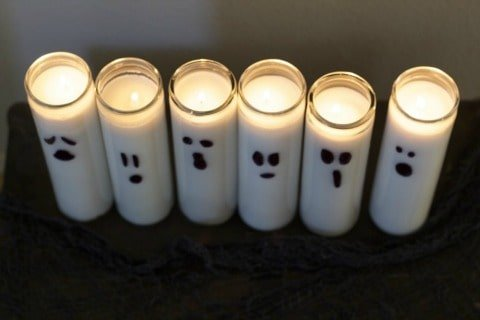 Dollar Store Halloween Decorations - Ghost Candles