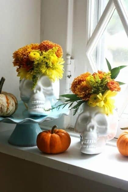 dollar store Halloween decorations -upcycled skulls
