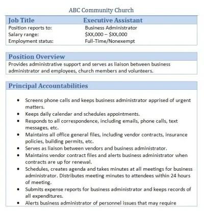 45 Free Downloadable Sample Church Job Descriptions