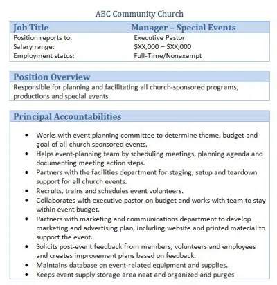 45 Free Downloadable Sample Church Job Descriptions