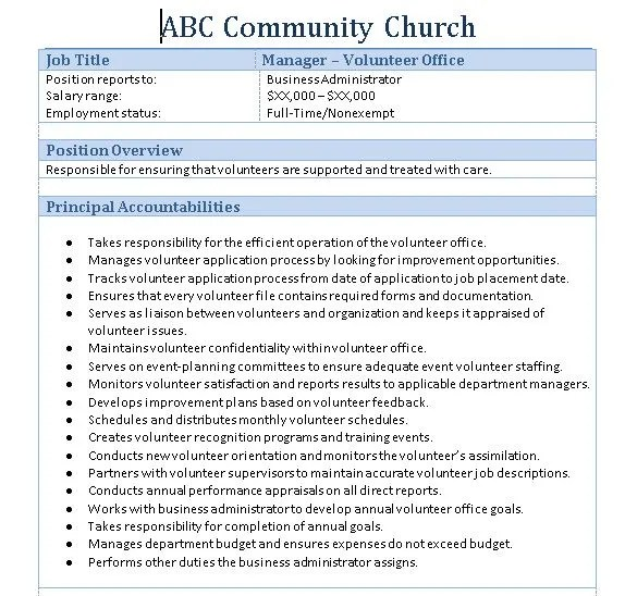 Templates Church Job Description