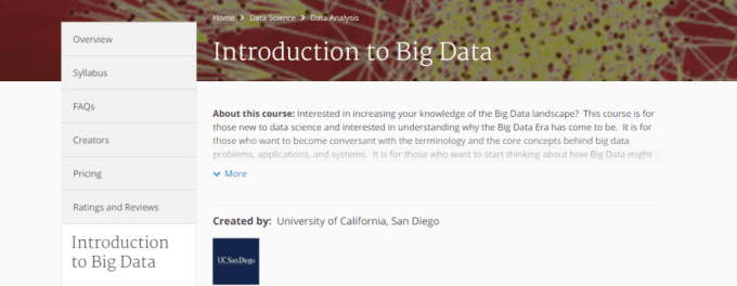 smart city online course, introduction to big data, coursera