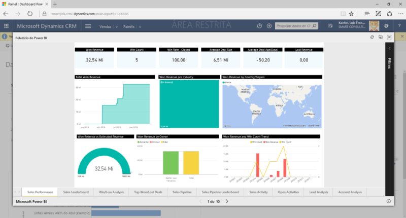 Visualizar relatório do Power BI no Dynamics CRM