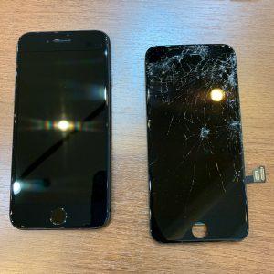 落下の衝撃で画面が破損したiPhone7